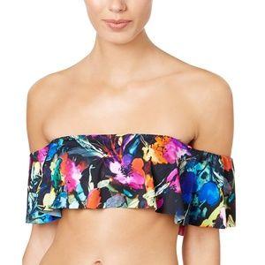 Bar III Painted Posies Off-The-Shoulder Bikini Top